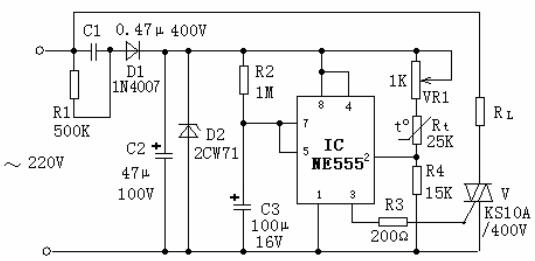 555 timer based circuit for temperature control