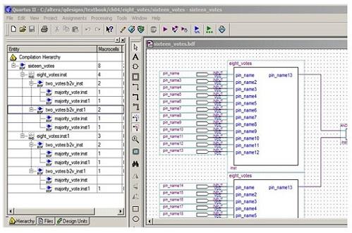 Quartus II operating interface