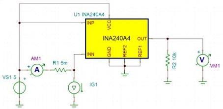 TI INA240 in circuit