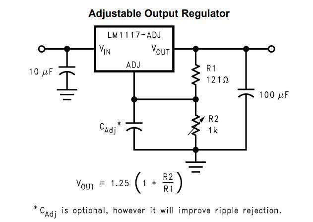 LM1117 Adjustable Output Regulator Circuit