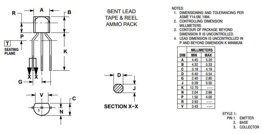 2N5551 Transistor Package: Bent Lead