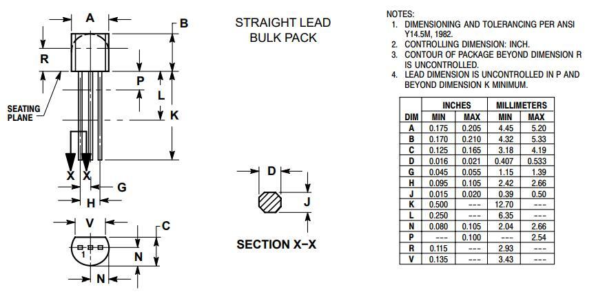 2N5551 Transistor Package: Straight Lead