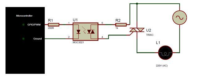MOC3021 Microcontroller Interfacing Diagram