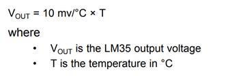 LM35 Temperature Voltage Formula