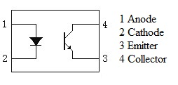 Optocoupler PC817 pin diagram and internal circuit