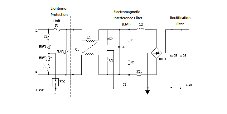 Schematic of Input Filter, Rectifier Circuit