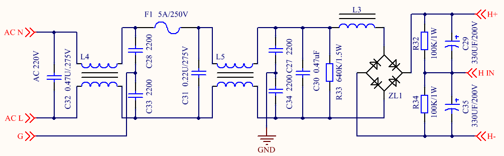 Figure 1. 220V Input Rectification and Filtering Circuit Diagram