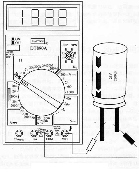 Wiring diagram for testing electrolytic capacitor with buzzer