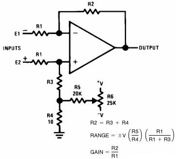 Offset Voltage Adjustment for Differential Amplifiers