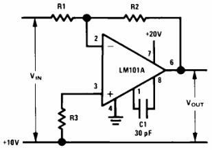 Circuit for Operating the LM101 without a Negative Supply