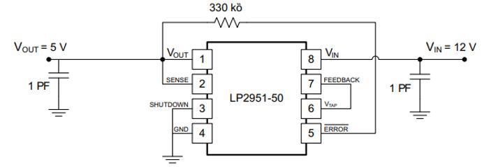 LP2951 Circuit: 12-V to 5-V Converter