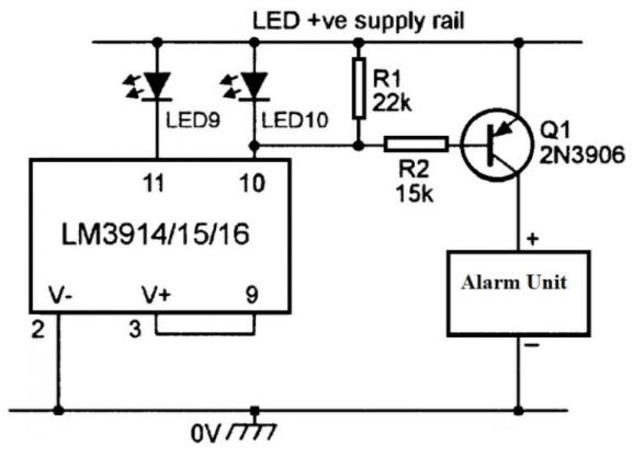 IC LM3914 Based Alarm Driver Circuit