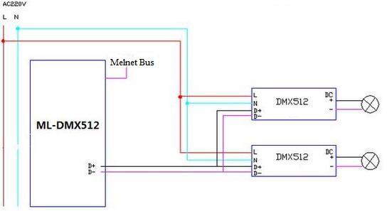 DMX512 Dimming Circuit Diagram