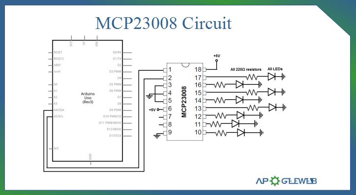 MCP23008 Arduino Circuit